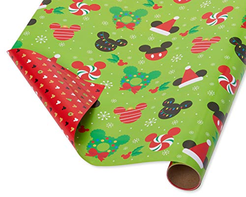 Mickey Mouse 1st Birthday Wrapping Paper (Papyrus Reversible Christmas Wrapping Paper, Mickey Mouse (1 Pack, 30 in. x 12)