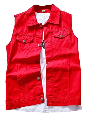 LifeHe Men's Retro Ripped Denim Sleeveless Jean Vest and Jacket White (Red, L) Punk Rock Vests