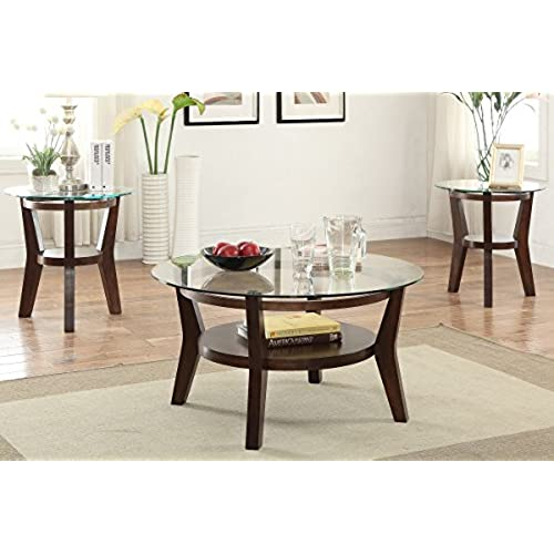 3 PCS Set Solid Wood Coffee Table With 2 End Tables 8mm Beveled Glass Top  With Shelf In Espresso Finish