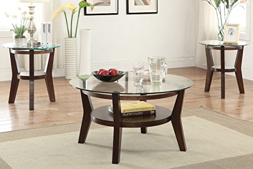 3 PCS Set Solid Wood Coffee Table with 2 End Tables 8mm Beveled Glass Top with Shelf in Espresso Finish by PDX