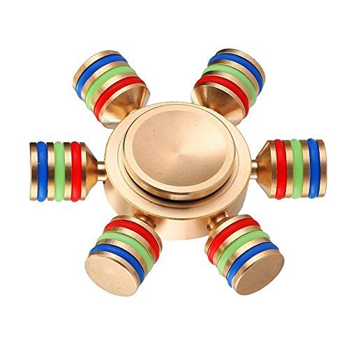 Flyspin Golden Wheel Hand Spinners 6 Sided Cool Metal Fidget Spinner DIY Toys With Premium Ceramic Bearing (Assembly Model)