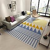 chezmax moderna geométrica Alfombras de área Pelo Suave Contemporáneo Comedor Salón Alfombra Piso alfombra flechas azul y amarillo, Stripes and Triangles, 140*200 cm/4.6*6.6 feet