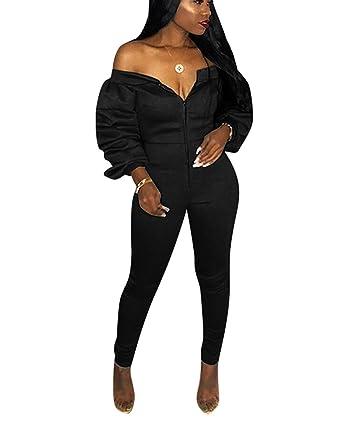 09070388ab1f Mycherish Women s Off Shoulder Zip Ruffle Long Sleeve Tube Top Long Pants  Set Bodycon Sheath Jumpsuits