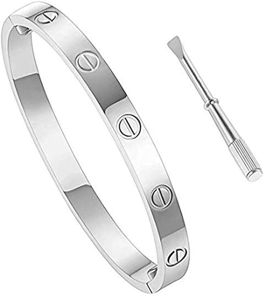 Screw Bracelets for Girls Adults Girlfriend Birthday Gifts LYLD Titanium Steel Love Bracelet for Women Cuff Bracelets Valentines Wedding Couples Bracelets