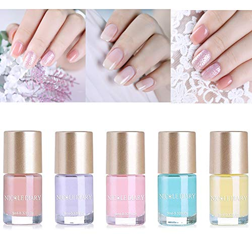 Lacquer Nail Pure Color Crystal (NICOLE DIARY Nude Color Series Translucent Nail Polish Jelly Nail Art Base Color Lacquer Long Lasting Summer Varnish Polish Enamel Paint(5 Colors))