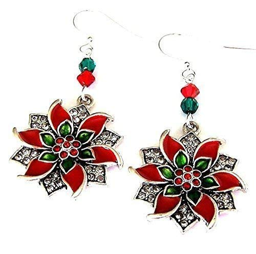 Large Christmas poinsettia earrings with Swarovski crystals
