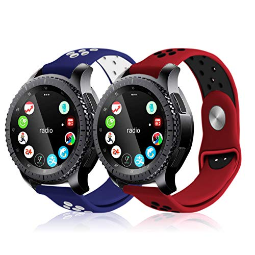 Soulen for Gear S3 Bands, Soft Replacement Sport Bands with Multiple Air Holes for Samsung Gear S3 Frontier/Classic (2-Pack Red/Black+Blue/White, for Wrist 6.2-7.8)
