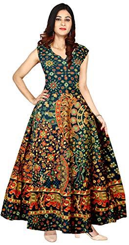 Riyanshi Women's Cotton Rajasthani Traditional Long Dress (SHF314, Multicolour, Free Size)