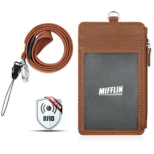 Breakaway Zipper (MIFFLIN PU Leather Badge Holder (Brown Crosshatch, Vertical), Zipper Wallet RFID Badge Holder, 5 Slots, Breakaway Flat Woven Lanyard with Key Clip, Faux Leather Card Holder, Lanyard ID Badge Holder)