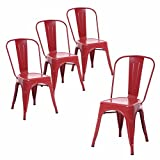 Buschman Set of Four Matte Red Tolix-Style Metal Indoor/Outdoor Stackable Chairs with Back