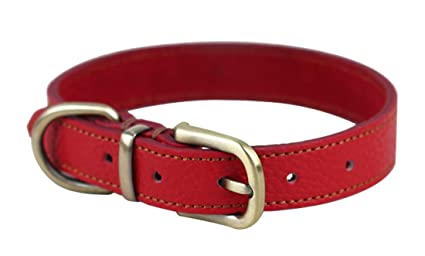 Rantow Collar de cuero suave ajustable para perro, del tamaño del cuello 33cm a 39