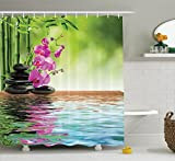 Spa Bathroom Ideas Spa Decor Shower Curtain Set By Ambesonne, Orchid Flower Stone Oriental Culture Spirituality Wellness Tropical Holiday, Bathroom Accessories, 75 Inches Long