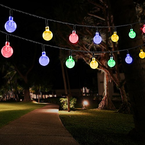 Omorc solar string lights 20foot 30 led crystal ball solar for Lanterne deco exterieur