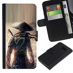 Be Good Phone Accessory // Caso del tirón Billetera de Cuero Titular de la tarjeta Carcasa Funda de Protección para Samsung Galaxy S6 SM-G920 // Eclipse warrior Japanese Samurai