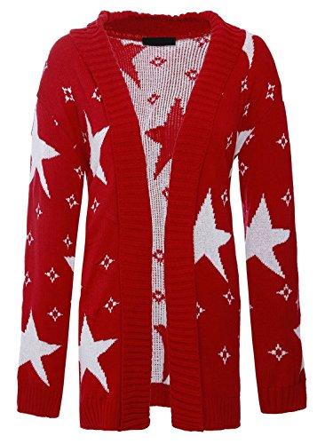 XL Tricot 2XL Haut Imprim red Cardigan Manches toiles Cardigan Islander Cardigan Femmes Femme Longues Fashions qOIwPO7xz