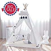 HAN-MM Kid's Foldable Teepee Play Tent One Four Ploes Style with Carry Case for Outdoor Indoor