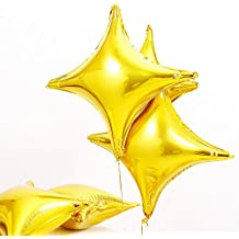 "ZOOYOO Star Shape Foil Mylar Balloon Four angle star ballons,for Birthday Party decoration (24"" Gold)"