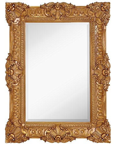 "Hamilton Hills Large Ornate Gold Baroque Frame Mirror | Aged Luxury | Elegant Rectangle Wall Piece | Vanity, Bedroom, or Bathroom | Hangs Horizontal or Vertical | 100% (30"" x 40\"")"