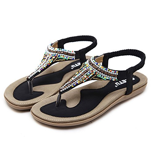 MILIMIEYIK Women Slide Sandal, Women's Summer Beach Flat Sandals Bohemia Beaded T-Strap Rhinestone Slip On Sandalses Shoes Black]()