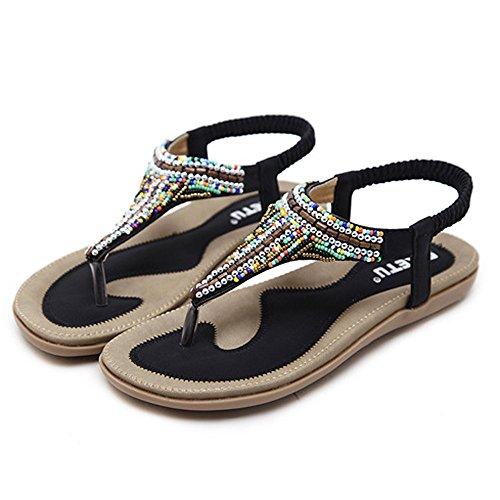 MILIMIEYIK Women Slide Sandal, Women's Summer Beach Flat Sandals Bohemia Beaded T-Strap Rhinestone Slip On Sandalses Shoes Black