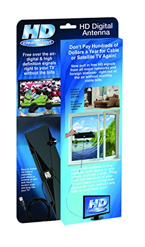 As Seen on TV HD-12 HD Clear Vision Ultra-Thin High Performance Indoor HDTV Antenna - Free Over The Air Digital TV