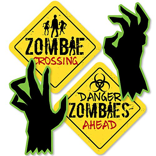 Zombie Zone - Sign and Zombie Hand Decorations DIY Halloween or Birthday Zombie Crawl Party Essentials - Set of 20