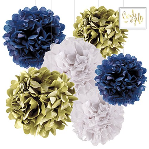 Andaz Press Hanging Tissue Paper Pom Poms Party Decor Trio Kit with Free Party Sign, Gold, Navy Blue, White, 6-Pack, For Nautical Baby Bridal Wedding Shower Decorations
