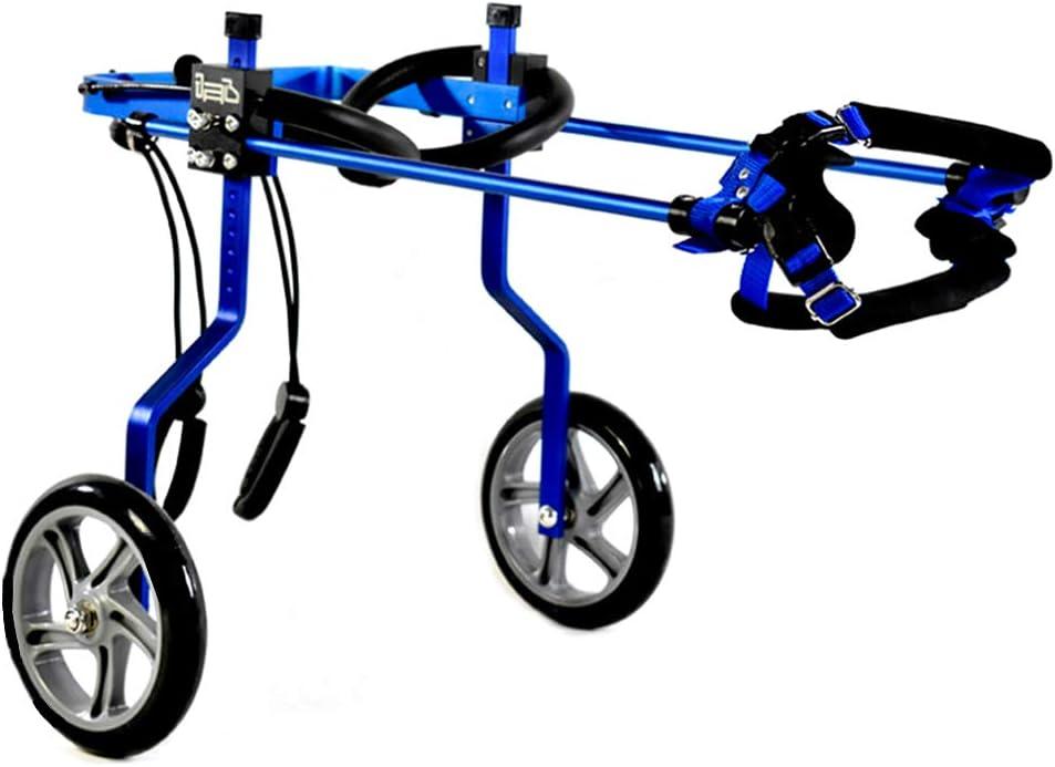 Jnzr Silla de Ruedas para Perros, Scooter para Perros Viejos Reparación de piernas traseras Ajustable para Personas con discapacidad Asistida para Caminar Coche Peso 0.7 a 6 Kg,Blue,XS