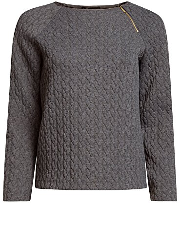 oodji Ultra Mujer Suéter de Tejido Texturizado con Cremallera Decorativa Gris (2501M)