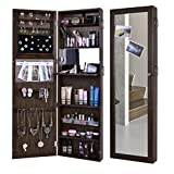 Kaluo Lockable Door Wall Mounted Jewelry Cabinet Storage Organizer with Mirror Black(US Stock)