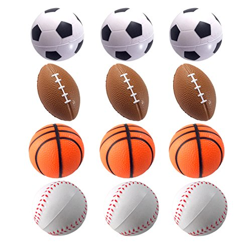 Mini Sports Balls for Kids Party Favor Toy, Soccer Ball, Basketball, Football, Baseball (12 Pack) Squeeze Foam for Stress, Anxiety Relief, Relaxation. (12 Pack (Mix Sports))