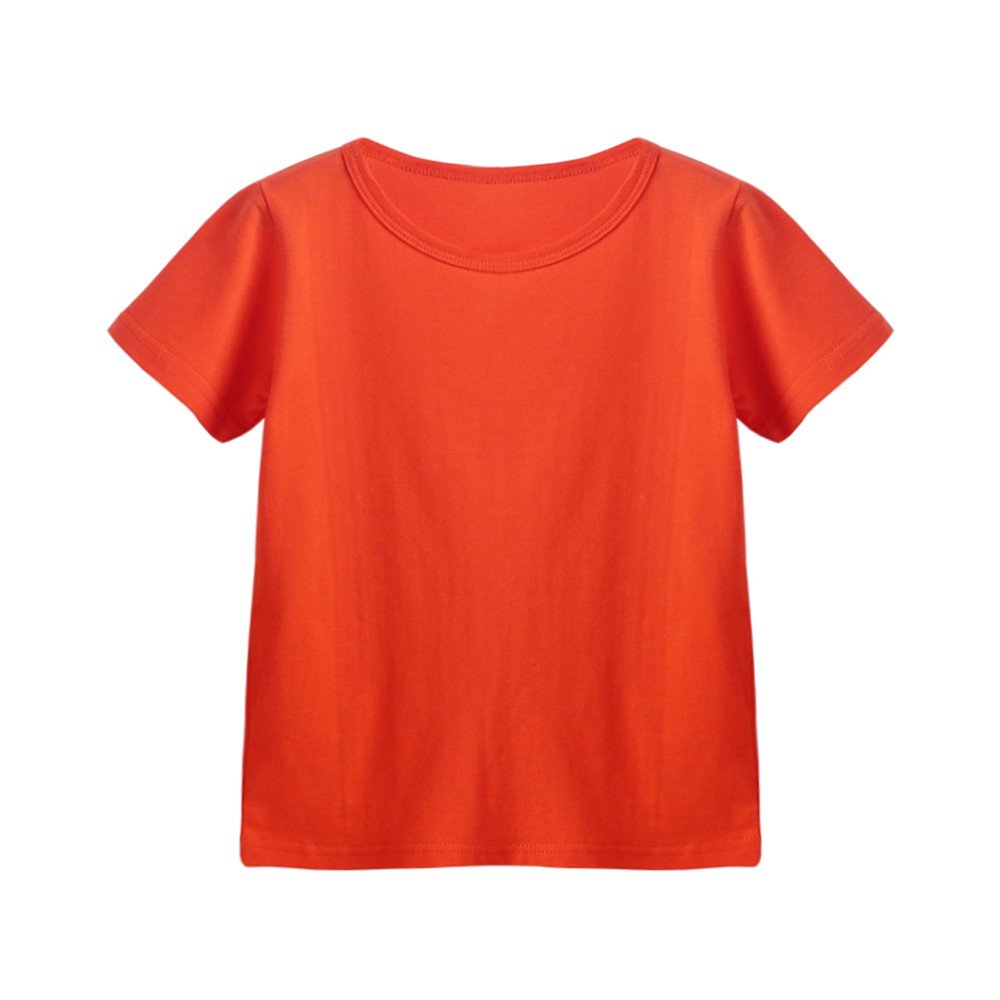 Kids Cheap T Shirts,Boys Solid Candy Color Tee Tops Little Girls T Shirts Pajama Shirts.(Orange,140)