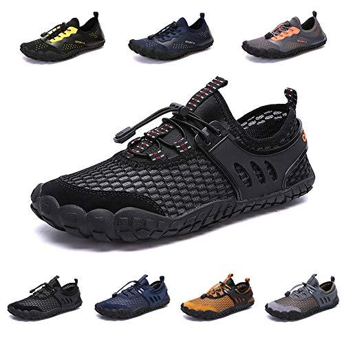 zhenghewyh Mens Womens Water Shoes Barefoot Quick-Dry Aqua Shoes for Beach Swim Pool Surf Diving Aqua Sports Walking Black (Best Shoes For Surf Fishing)
