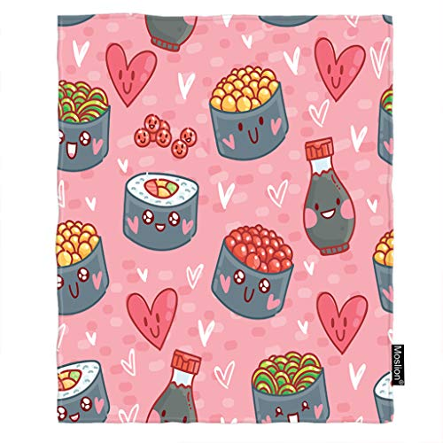 Moslion Cute Blanket Love Heart Japanese Sushi Rolls Soy Sauce Wasabi Seaweed Flying Fish Throw Blanket Flannel Home Decorative Soft Cozy Blankets 40x50 Inch for Baby Kids Pet Pink