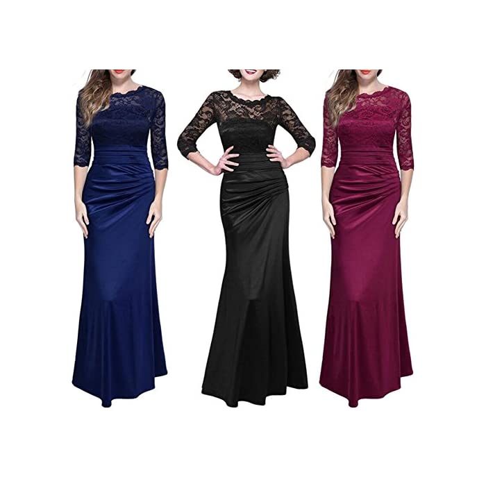 d11f079ac5 ... Women s Vintage Retro Floral Lace 2 3 Sleeves Slim Ruched Long  Bridesmaid Dress Wedding Party Maxi Evening Gown.   