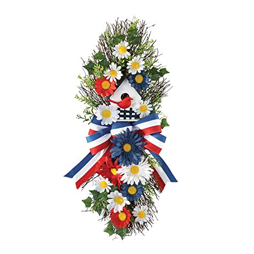 Collections Etc Patriotic Americana Birdhouse And Daisy Floral Swag