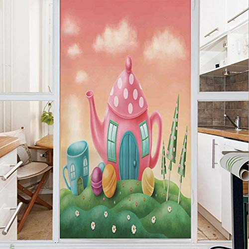 Decorative Window Film,No Glue Frosted Privacy Film,Stained Glass Door Film,Fantasy Teapot and Teacup Houses Wonderland Meadow Teatime Happiness Artwork,for Home & Office,23.6In. by 59In Pink Green