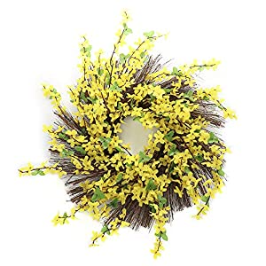 """TiTa-Dong Artificial Flower Wreath,16"""" Chrysanthemum Front Door Wreath Handmade Spring Front Door WreathWild Daisy Floral Twig for Home Wall Wedding Party Decor 95"""