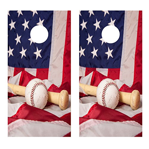 Baseball and Bat with American Flag CORNHOLE LAMINATED DECAL WRAP SET Decals Board Boards Vinyl Sticker Stickers Bean Bag Game Wraps Vinyl Graphic Image Corn Hole (Laminated)
