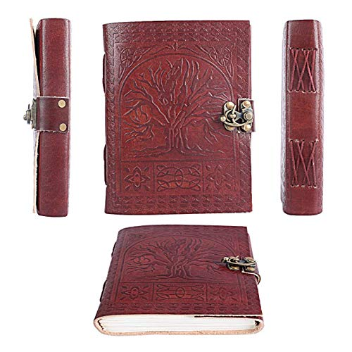 (PRASTARA GENUINE Leather Cover Tree of Life Book 200 Pages, 5 x 7 Inches)