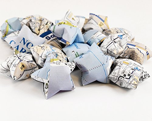 Vintage Map Paper Star Confetti for Travel Wedding Party Table Scatter Decoration (20 pieces, 1.5in (Love Boat Doctor)