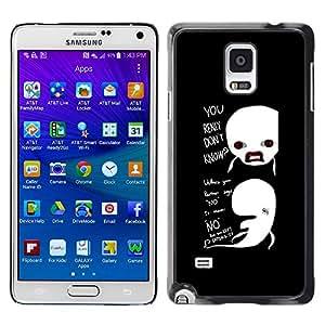 ROKK CASES / Samsung Galaxy Note 4 SM-N910F SM-N910K SM-N910C SM-N910W8 SM-N910U SM-N910 / FUNNY - REALLY DON'T KNOW WHALES / Delgado Negro Plástico caso cubierta Shell Armor Funda Case Cover