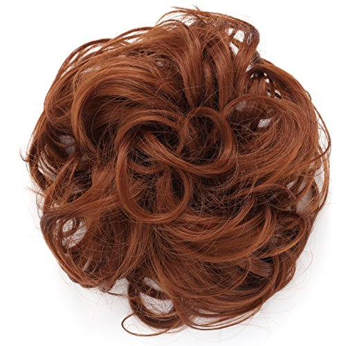 OneDor® Synthetic Clip on/in Messy Hair Bun Extension Chignon Hair Piece Wig (30#-Reddish Brown) (Red Ponytail Wig)