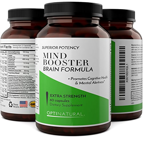 Natural Brain Booster Supplements – Mental Focus Enhancer With Pure Green Tea Extract + L