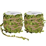 Tenn-Well-2-Rolls-5MM-Burlap-Leaf-Ribbon-132Feet-Natural-Jute-Twine-with-Artificial-Leaves-for-Wedding-Home-Garden-66Feet-Each-Roll