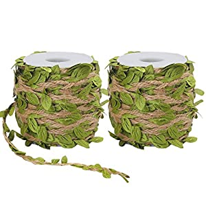 Tenn Well 2 Rolls 5MM Burlap Leaf Ribbon, 132Feet Natural Jute Twine with Artificial Leaves for Wedding, Home, Jungle Party Decorations (66Feet Each Roll) 48