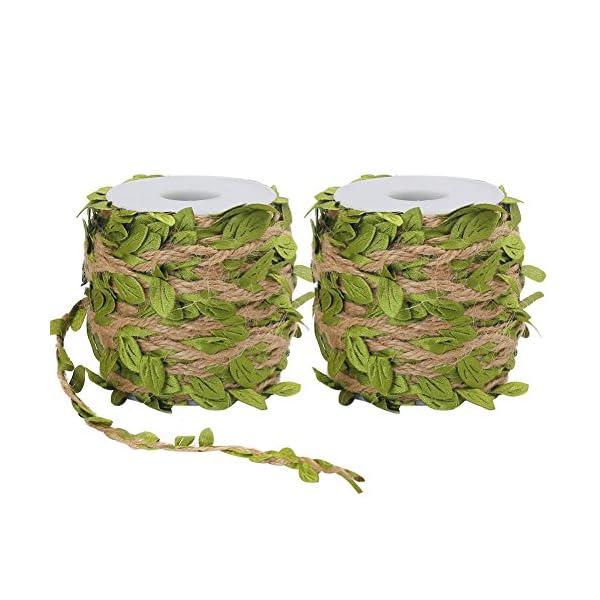 Tenn-Well-2-Rolls-5MM-Burlap-Leaf-Ribbon-132Feet-Natural-Jute-Twine-with-Artificial-Leaves-for-Wedding-Home-Garden-66Feet-Each-Roll