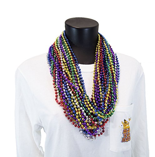 MARDI GRAS BEADS ~ METALLIC PARTY NECKLACES ~ ROUND - 33 INCH - 07MM ~ 6 ASSORTED COLORS ~ 48 DOZEN (576 NECKLACES)