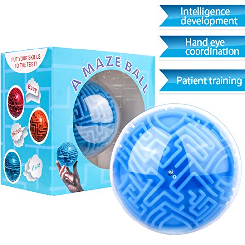 KeNeer Maze Ball Mini 3D Magic Puzzle Intelligence & Idea Maze Game Toys - Hard Challenging Labyrinth Gifts for Kids and ()