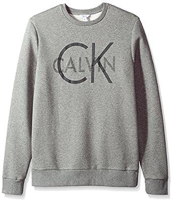 Calvin Klein Men's Long Sleeve Printed Logo Crew Neck Pullover Sweatshirt